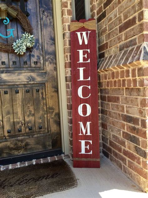 """Rustic Welcome Sign 58"""" tall, Welcome sign for Front Porch"""