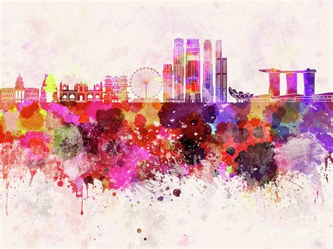 Singapore V2 skyline in watercolor background Painting by