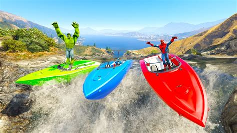 COLOR RIVER BOATS Race with Superheroes cartoon for kids