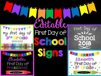 First Day / Last Day of School Signs Editable by FUNtastic