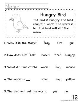 Beginning Readers Comprehension Packet for Early Education