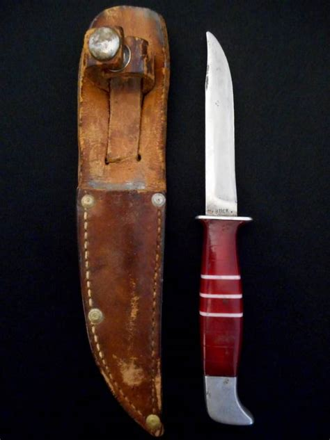 Antique Hoyt BUCK Knife -Red Lucite Handle w/Sheath