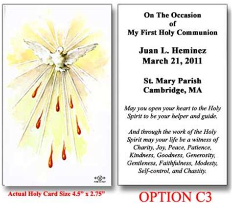 Personalized Confirmation Holy Card - Holy Spirit with Flames
