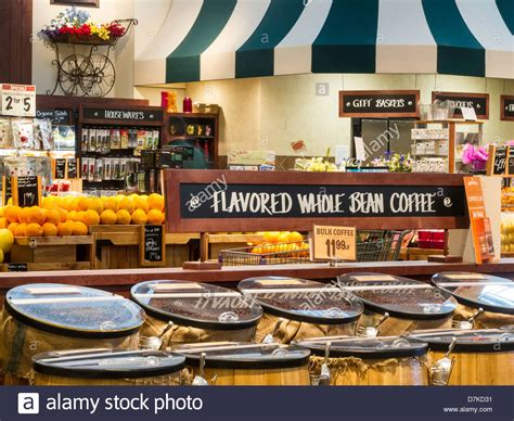 Coffee Bean Display in The Fresh Market Grocery Store in