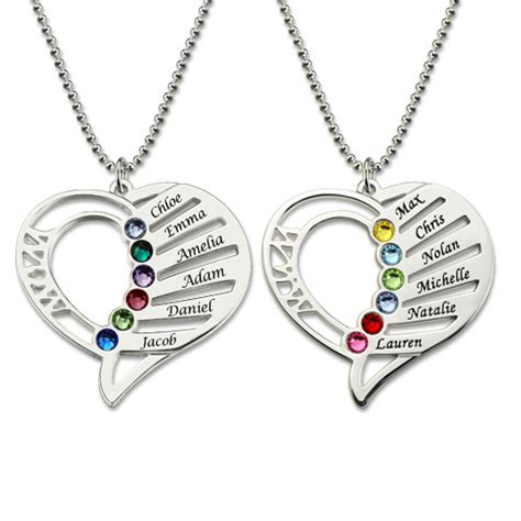 Personalized Mom Birthstone Necklace Family Jewelry Gift