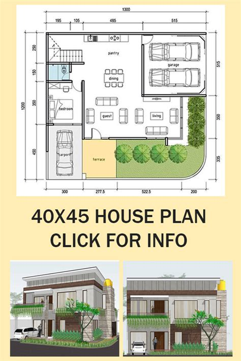 40X45 (feet) House Floor Plan With 3D view
