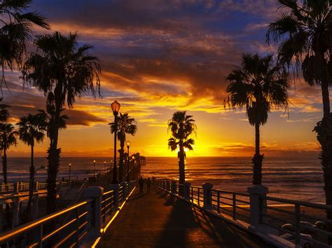 Sunset At The Oceanside Pier In The North County Of San