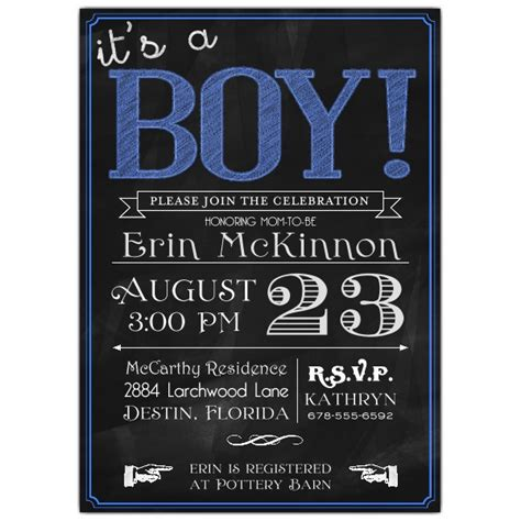Chalkboard with Blue Its A Boy Baby Shower Invitations